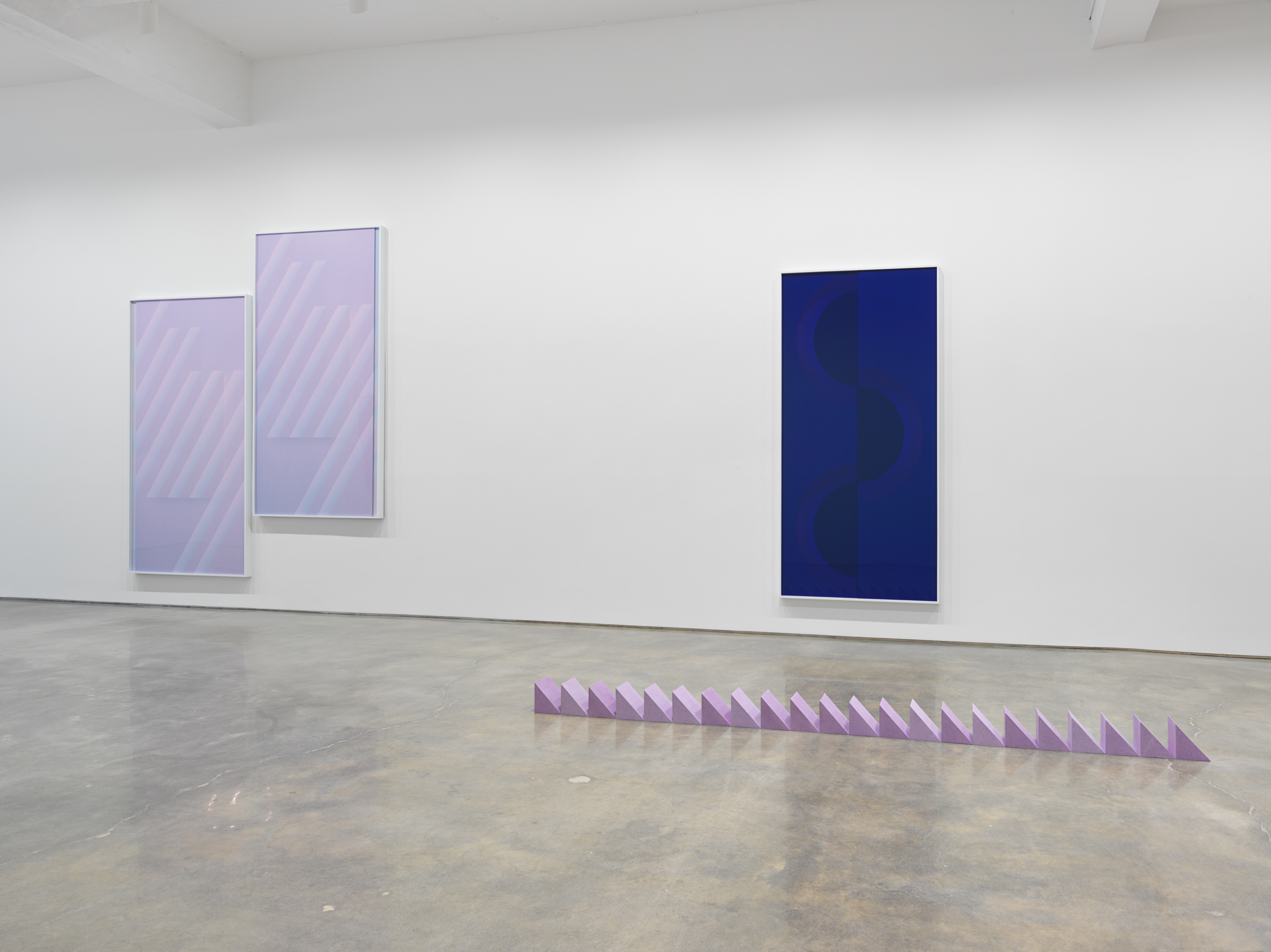"Sara VanDerBeek, ""Pieced Quilts, Wrapped Forms."" Installation view, 2016. Metro Pictures, New York. Photo: Genevieve Hanson  Courtesy of the artist and Metro Pictures, New York"
