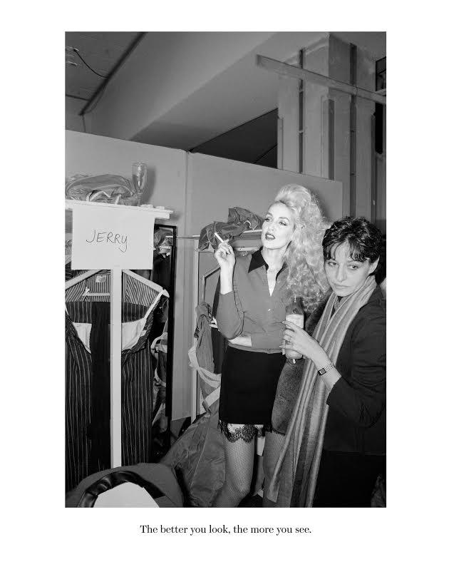 Jerry Hall backstage at the Vivienne Westwood fashion show, Paris, 1996