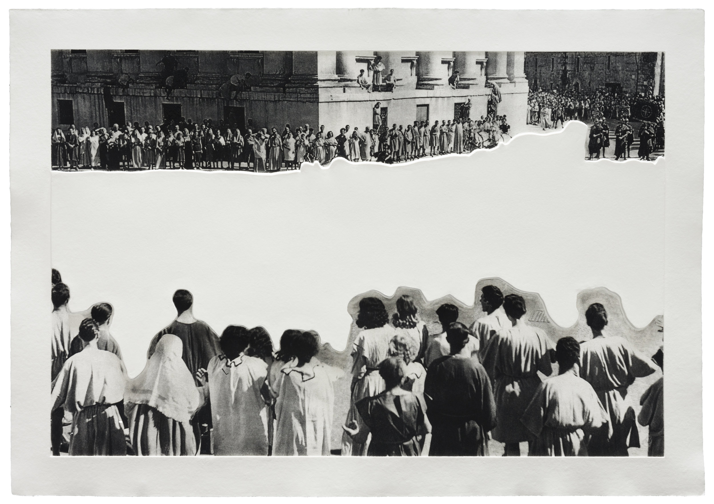 © John Baldessari  Crowds with Shape of Reason Missing: Example 4 , 2012. Mixografía® print on handmade paper, Edition of 60, 30 X 43.5 inches