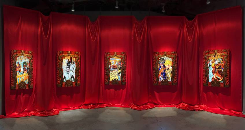 The Ballroom  2016. Installation view at Luis De Jesus Los Angeles. Acrylic paint, gold leaf on plexiglass, fabric, painted frames, Led screen, video loops. 14 x 30 ft. Courtesy of LDJ Gallery