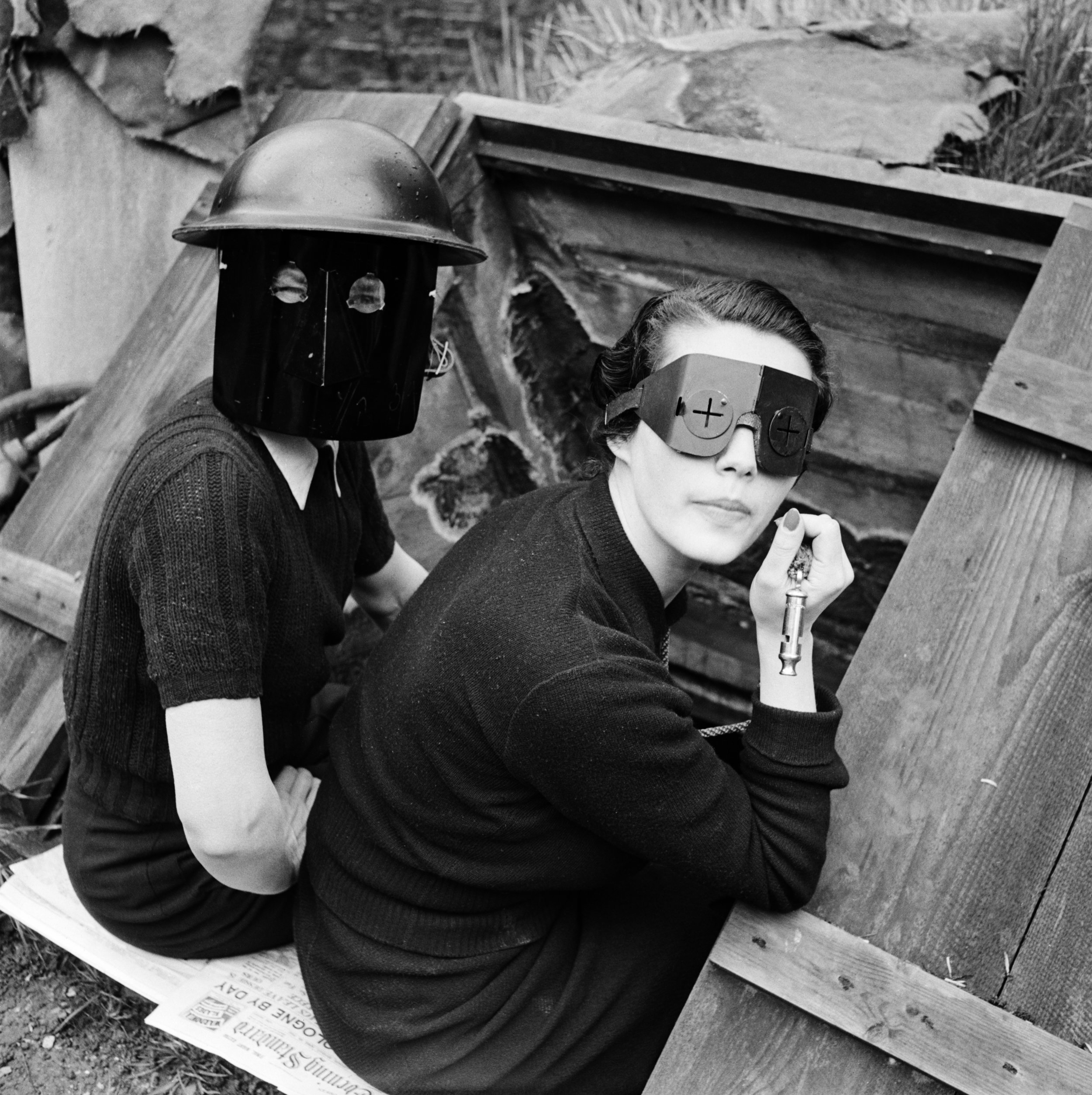 Fire Masks, Downshire Hill, London, England, 1941 by Lee Miller © Lee Miller Archives