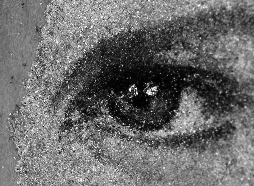 Ann's Eye, 2014. Detail of mosaic (Loose ash particles, pulverized birch coal and white marble dust on beeswax © Heide Hatry. Courtesy Ubu Gallery.