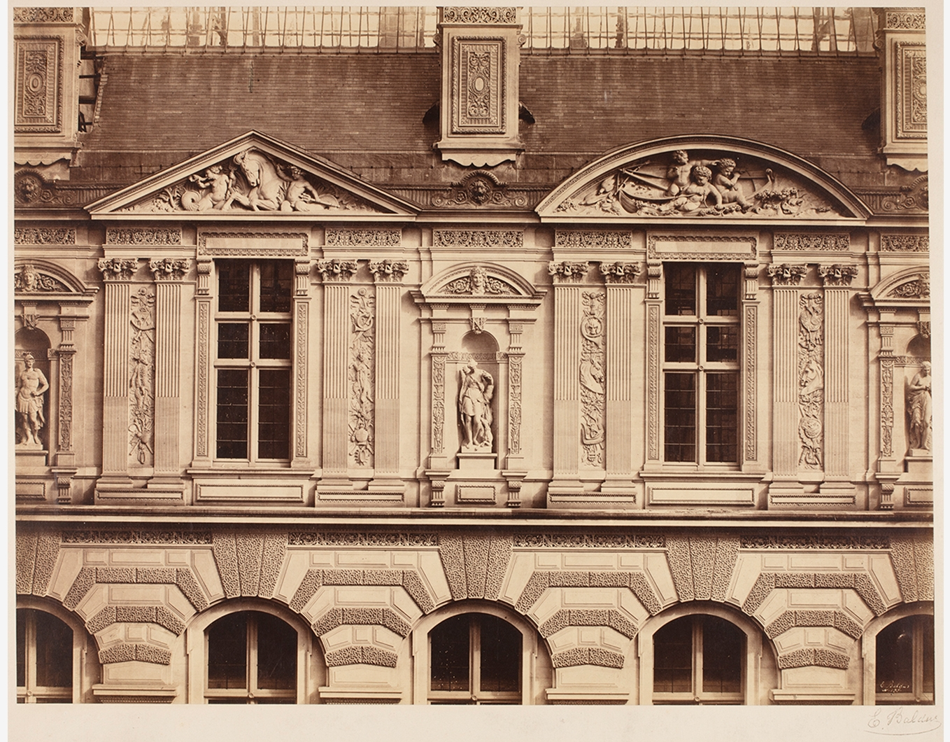 Image courtesy of the George Eastman Museum. Édouard Baldus (French, 1813–1889). The Louvre, ca. 1855. Albumen silver print. George Eastman Museum, gift of Eastman Kodak Company, ex-collection Gabriel Cromer