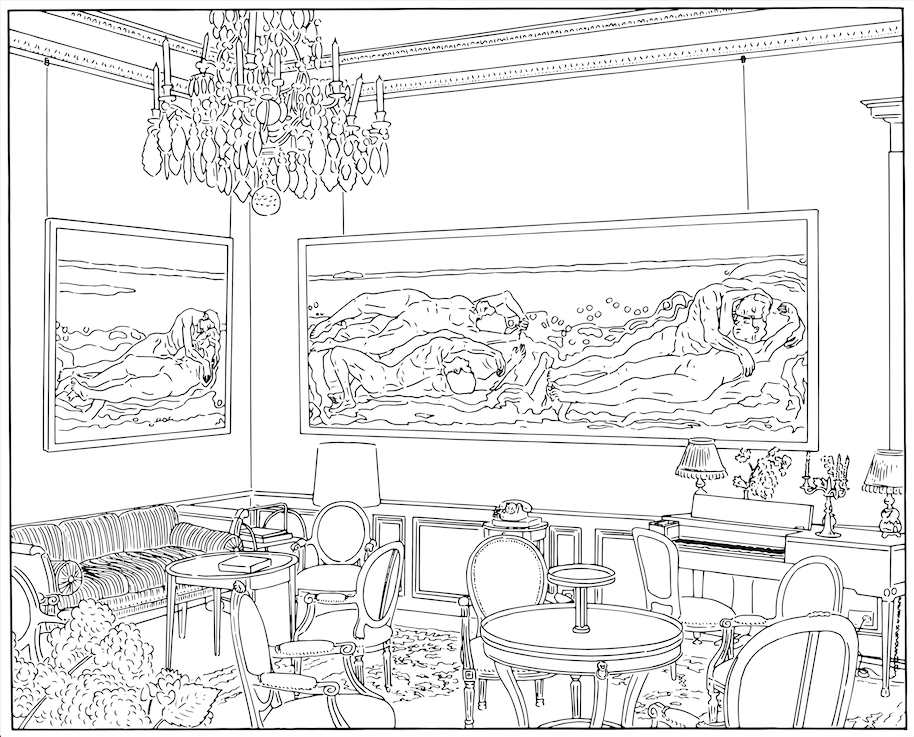 Louise Lawler.  Salon Hodler (traced).  1992/1993/2013. Dimensions variable. Courtesy the artist and Metro Pictures. © 2017 Louise Lawler