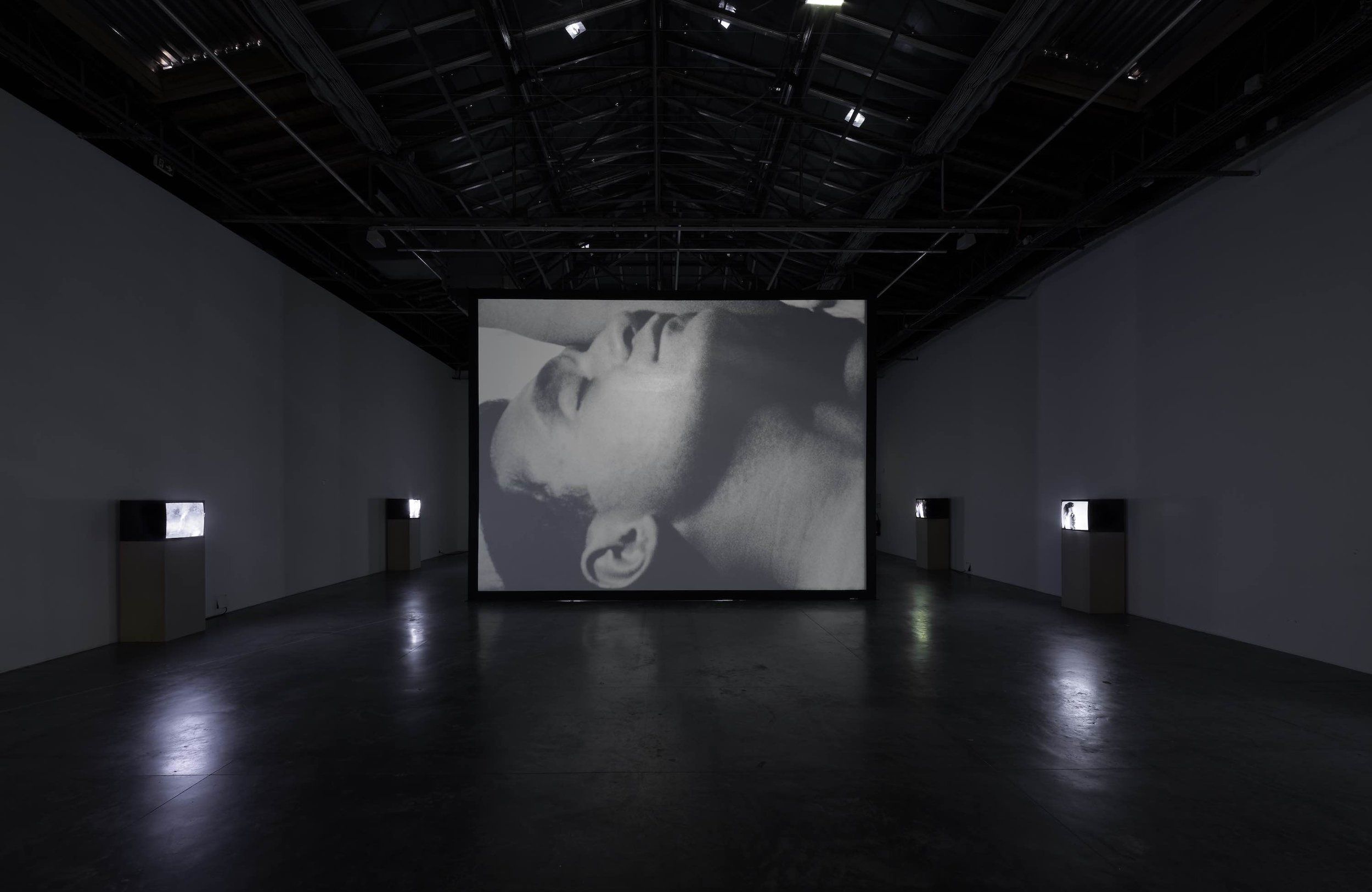 Ugo Rondinone: I LOVE JOHN GIORNO Installation View of Sleep by Andy Warhol, 1963, at Palais de Tokyo, 2015 ©The Andy Warhol Museum, Pittsburgh; Founding Collection, 2017 The Andy warhol Foundation for the Visual Arts, Inc./ Artists Rights Society (ARS), New York, Photo: Aurelien Mole