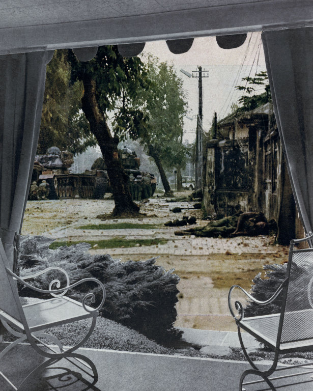 Martha Rosler Patio View, c. 1967-72 photomontage 24 x 20 inches © Martha Rosler; Courtesy of the artist and Mitchell- Innes & Nash, New York.