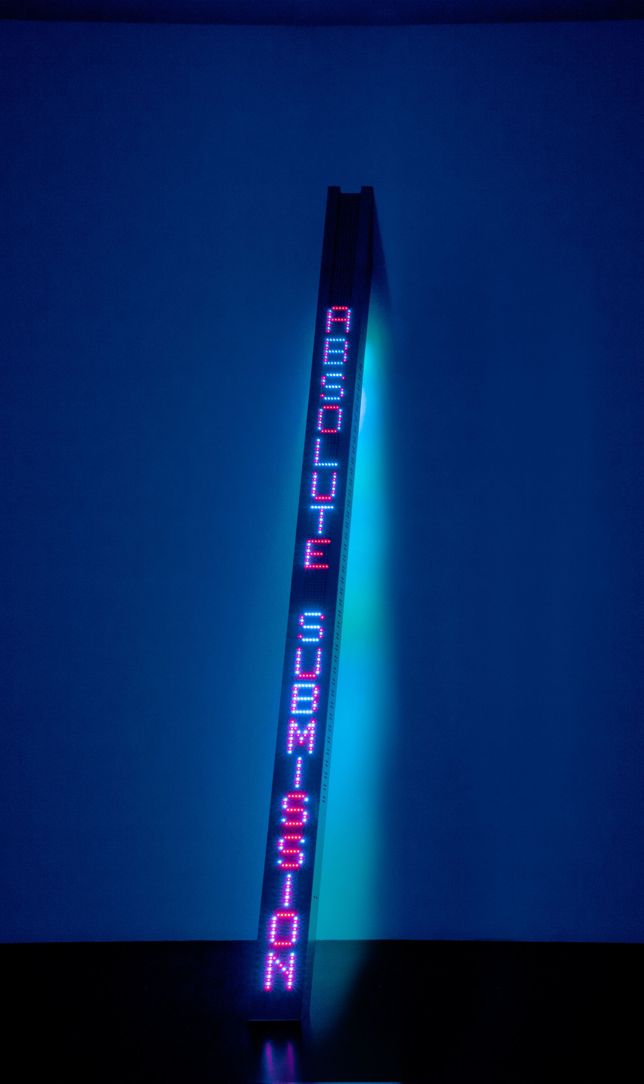 Jenny Holzer New Tilt, 2011 vertical, tilted, double-sided LED sign with blue and red diodes on front and blue and green diodes on back, stainless steel housing 9 feet 3 1/2 inches x 6 inches x 3 5/8 inches © Jenny Holzer. Courtesy Artist Rights Society (ARS) and Cheim & Read, New York.