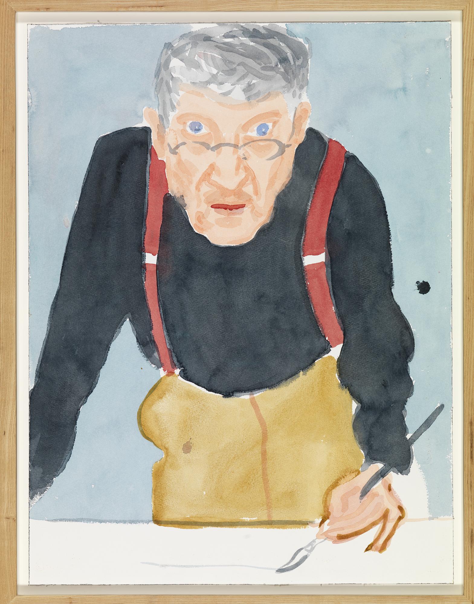 "David Hockney ""Self Portrait with Red Braces"" 2003 Watercolor on paper 24 x 18 1/8"" ©David Hockney Photo Credit: Richard Schmidt"