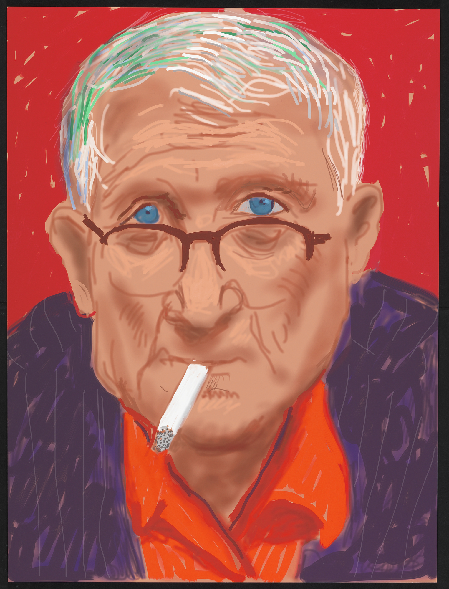 "David Hockney ""Self Portrait, 20 March 2012 (1219)"" iPad drawing printed on paper, mounted on Dibond Exhibition Proof 32 x 24"" ©David Hockney."