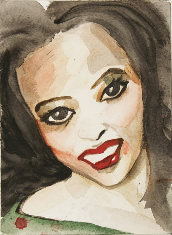Miss Alaska , 2007. Watercolor on paper, 5.5 x 7.25 inches, Unique. © Pam Butler. Courtesy of the artist and Baxter St Camera Club New York.