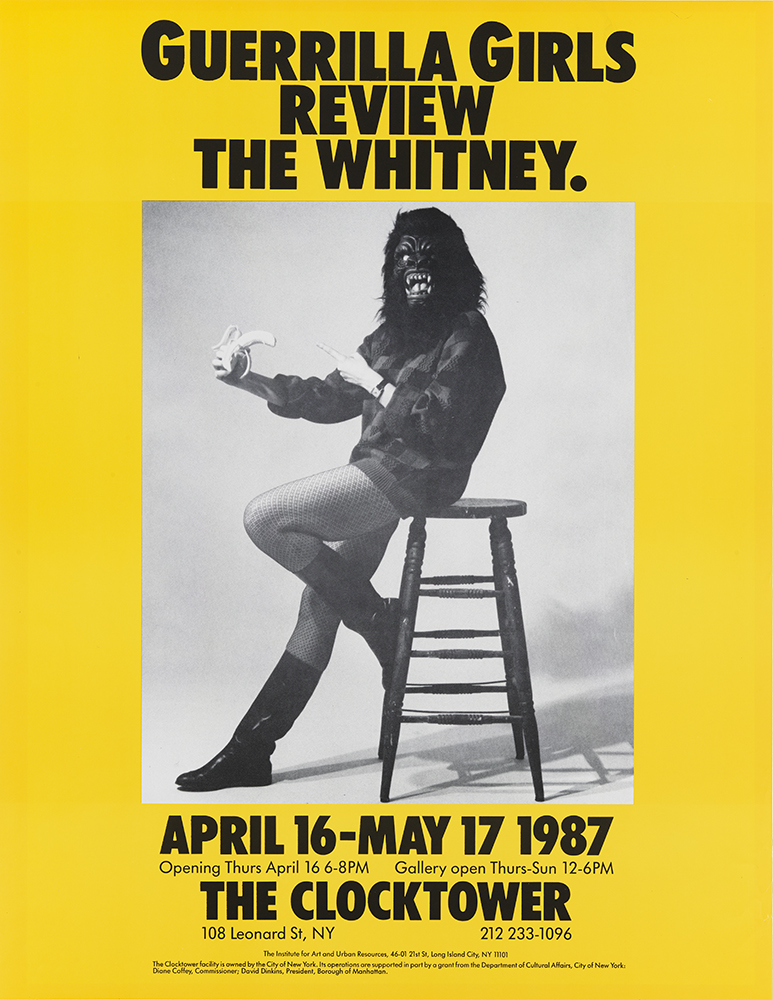 Guerrilla Girls (est. 1985), Guerrilla Girls Review the Whitney, 1987. Offset lithograph, 22 x 17 in. (55.9 x 43.2 cm). Whitney Museum of American Art, New York; purchase 2000.91 © Guerrilla Girls