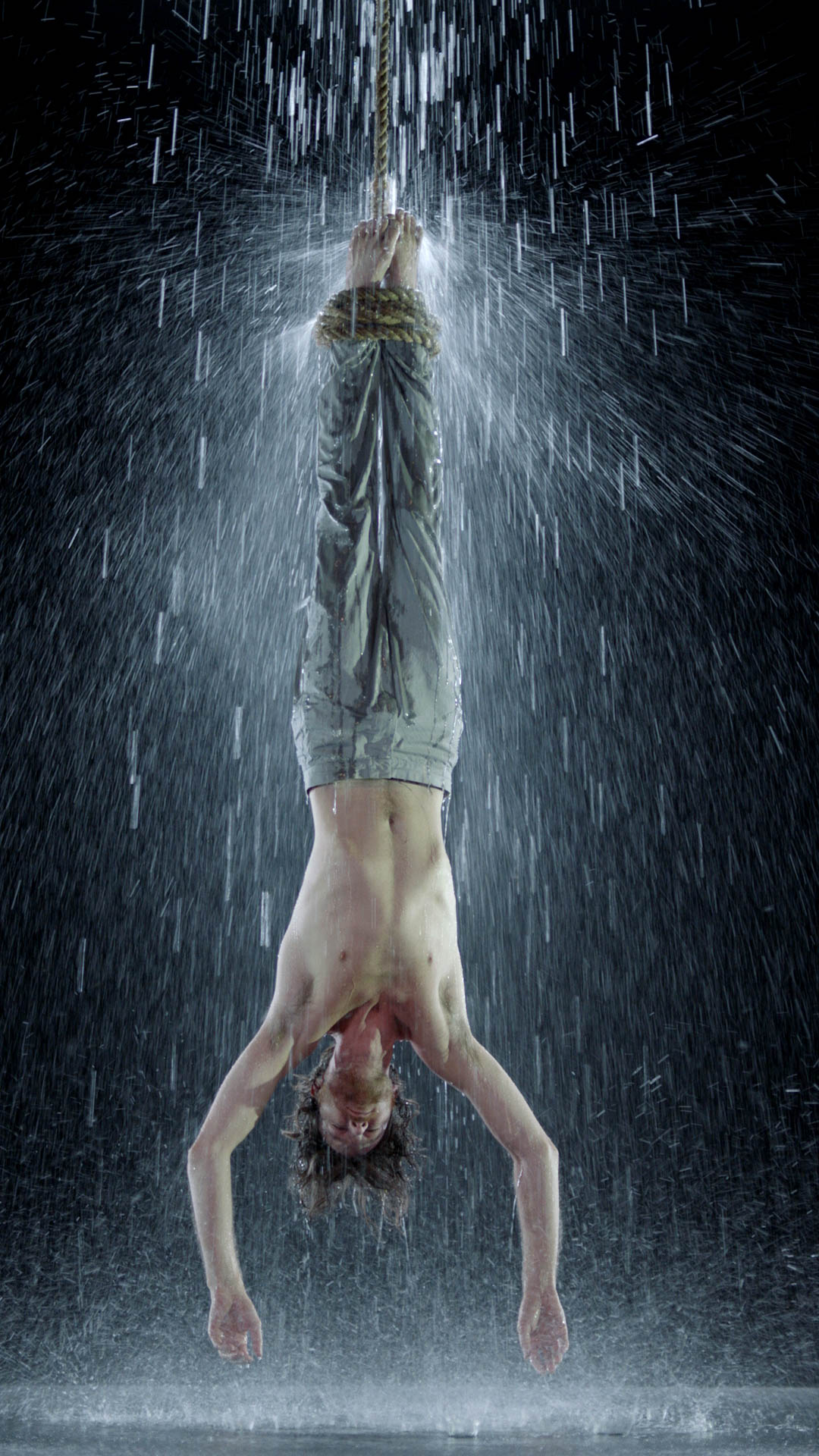 Bill Viola, Water Martyr , 2014, Color High-Definition video on flat panel display, 42 3/8 x 24 1/2 x 2 5/8 in. (107.6 x 62.1 x 6.8 cm), 7:10 minutes, Executive producer: Kira Perov, Performer: John Hay