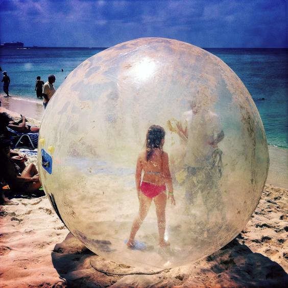 """Bubble Girl, The Cayman Islands. March 14, 2011, 12:36:36pm  Latitude: 19°20'41""N, Longitude: 81°23'4""W  ©Robert Herman"
