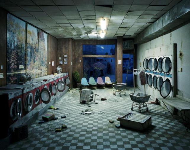 Laundromat at Night, 2008 © Lori Nix
