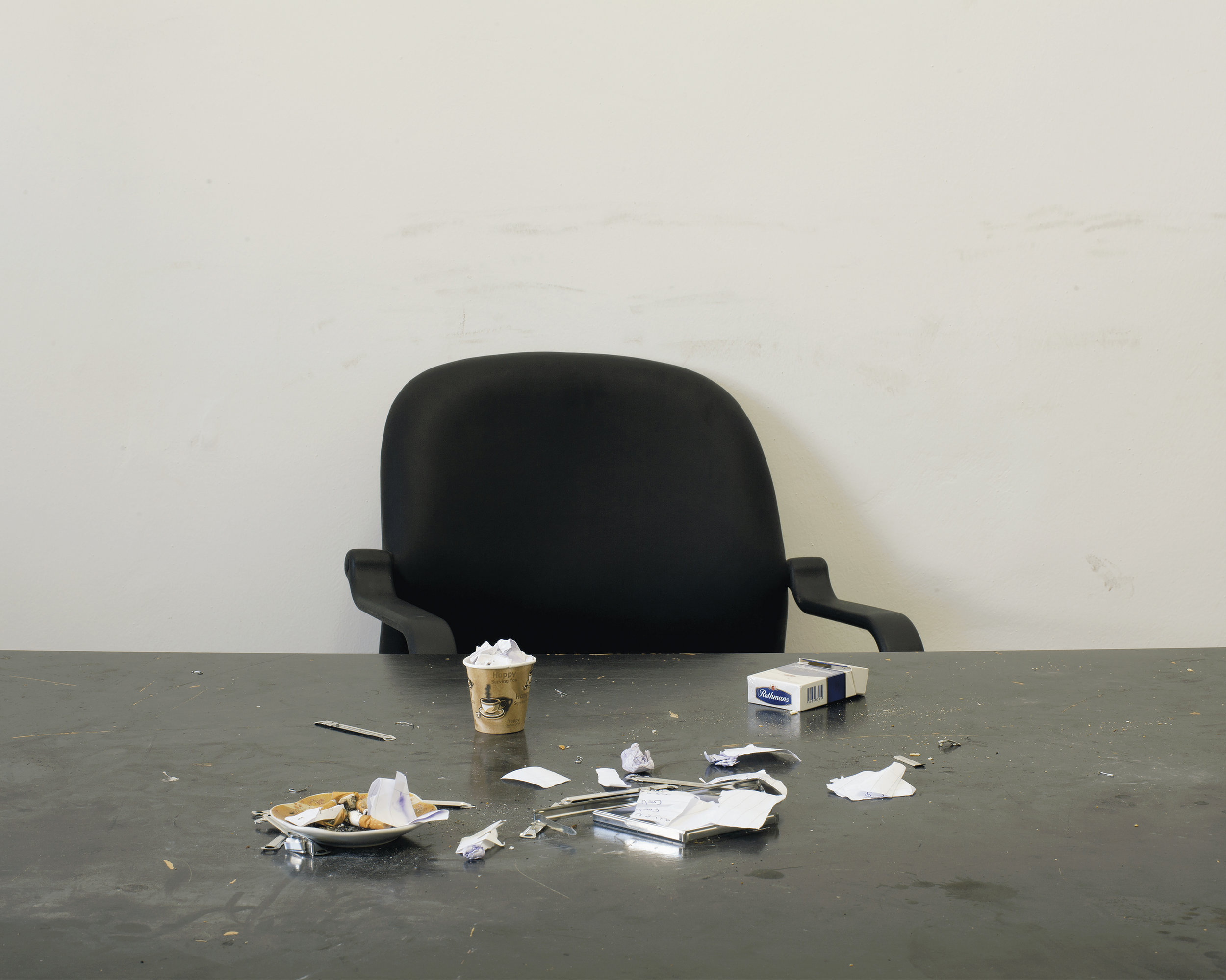 Edmund Clark, A room formerly used for interrogations in the Libyan intelligence service facility at Tajoura, Tripoli, from Negative Publicity: Artefacts of Extraordinary Rendition, 2015, by Crofton Black and Edmund Clark