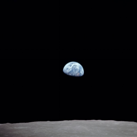 """Apollo 8 Mission image, Earth over the horizon of the moon ""  Image courtesy of NASA"