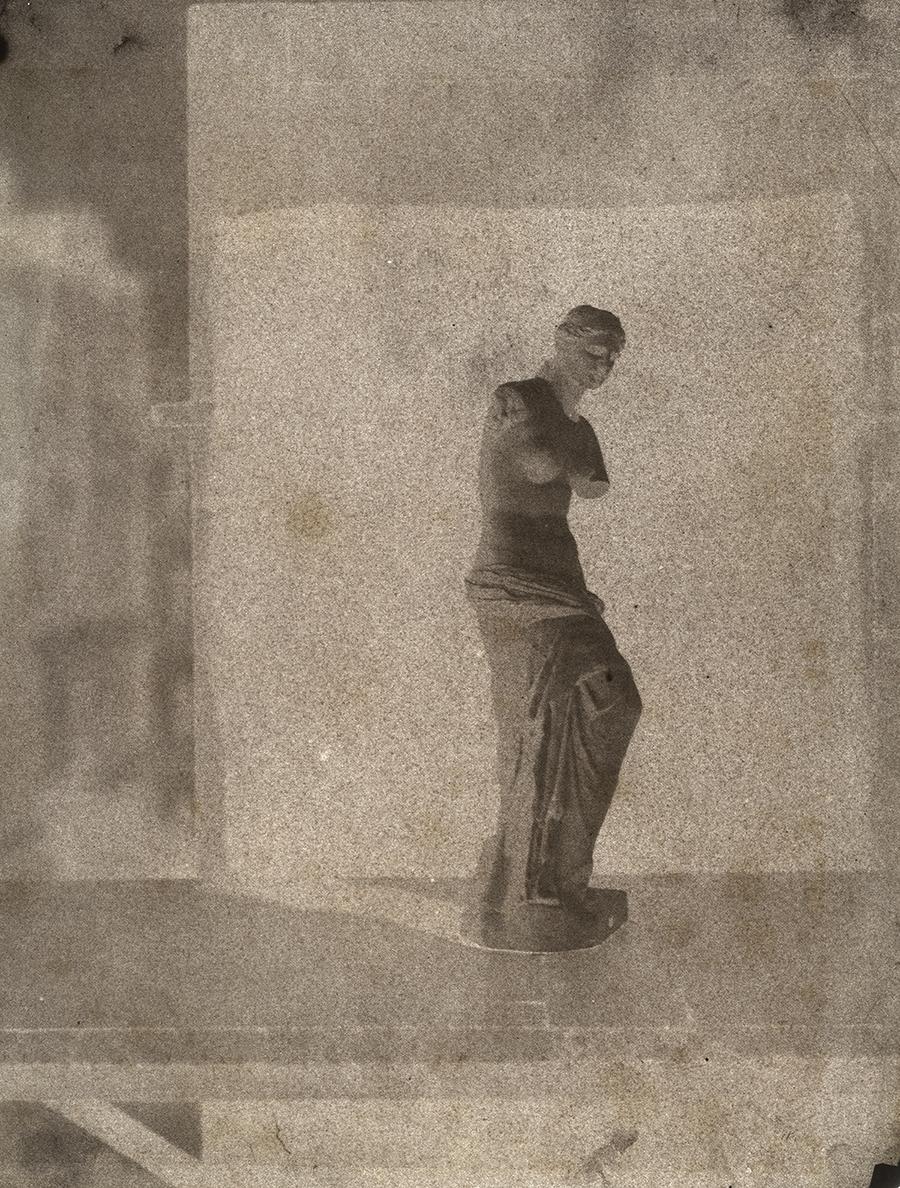 John Beasley Greene (American, born in France, 1832-1856) Venus de Milo on rooftop in Paris , 1852-1853.Courtesy of Hans P. Kraus Jr. Fine Photographs.