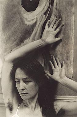 A photo of Georgia O'Keefe taken by Alfred Stieglitz in 1918