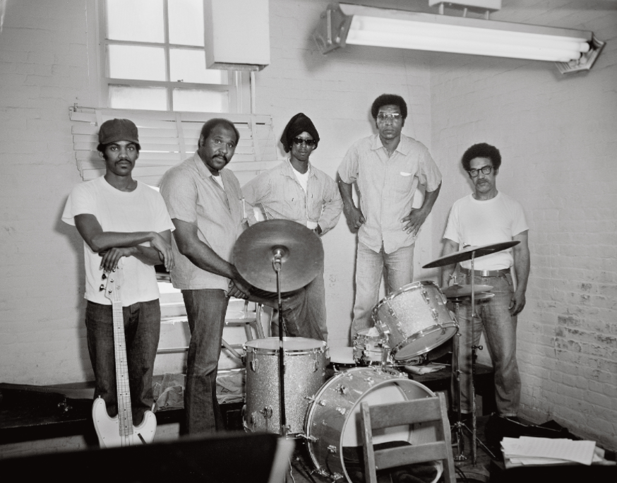 Photographer unknown, Prison Rock Band, San Quentin State Prison, June 26, 1975  © Courtesy Nigel Poor, San Quentin Archive, and Haines Gallery, San Francisco