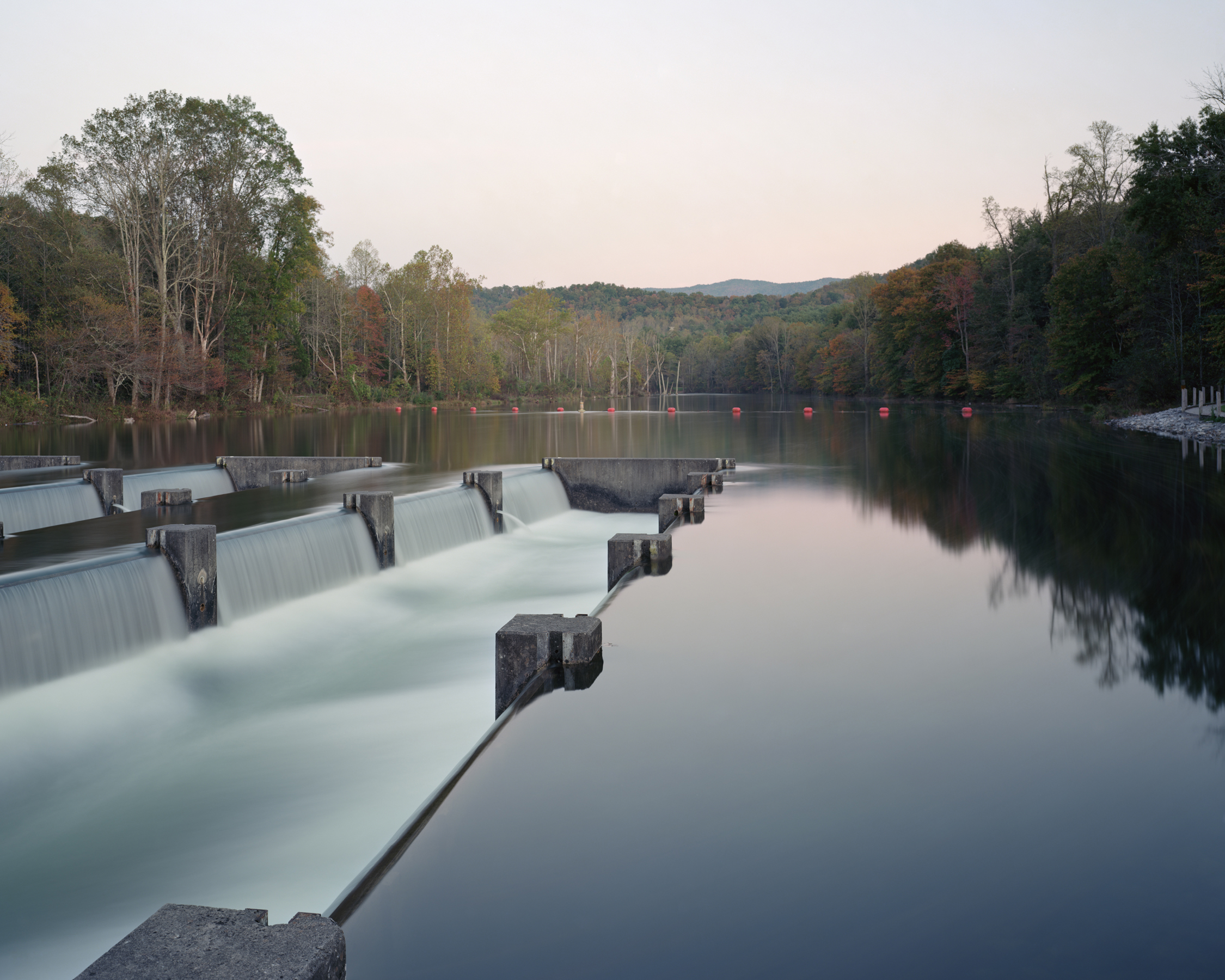 """Weir Dam, South Fork Holston River, Bristol, Tennessee"" 2012  © Jeff Rich    This structure is used to reintroduce oxygen back into the river after it is depleted behind South Holston Dam."