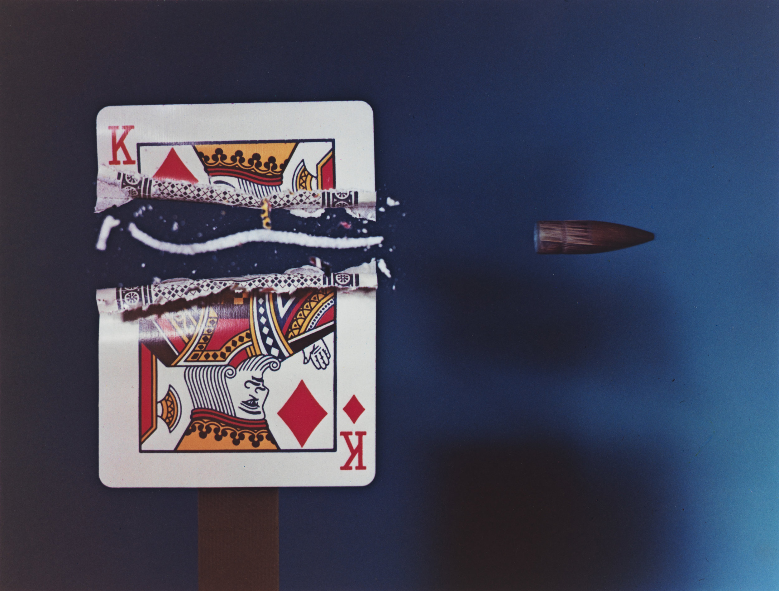 Harold Edgerton (1903-1990),  Cutting the Card Quickly , 1964, printed 1987. Edition 55/125. Dye transfer print: sheet, 9 × 10 15/16 in. (22.9 × 27.8 cm); image, 7 5/8 × 10 in. (19.4 × 25.4 cm). Whitney Museum of American Art, New York; gift of The Harold and Esther Edgerton Family Foundation 96.117.20. © 2010 MIT. Courtesy of MIT Museum