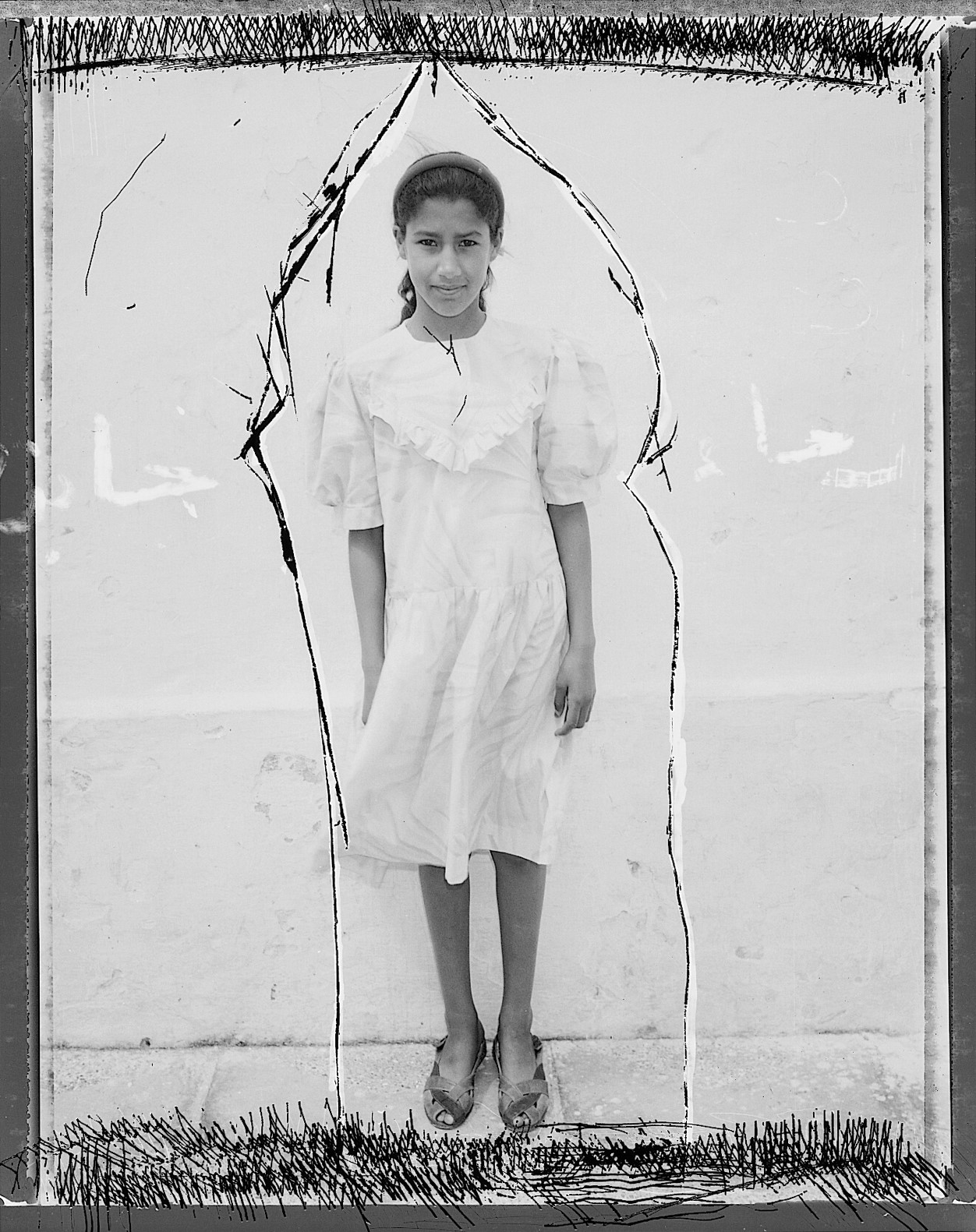 ©Wendy Ewald Courtesy Steven Kasher Gallery, New York,Portrait of Rajae Jabine, Morocco, 1995