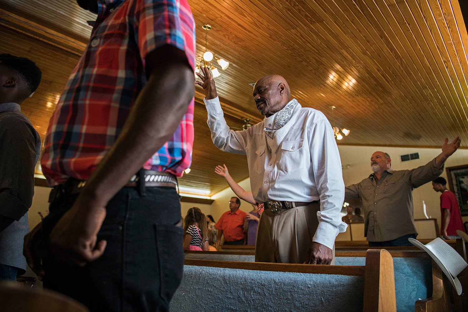 A cowboy named Archie sings at a Cowboy Service in Indianola, Mississippi. Photo by Rory Doyle.