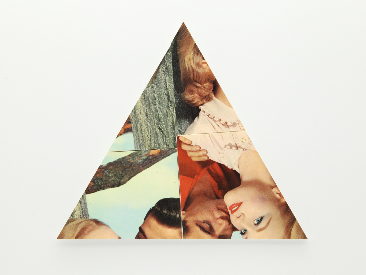 © Kensuke Koike,  Triangle , 2018. Cut postcard collage, 7 1/2 x 6 1/2 inches. Courtesy of the artist and Postmasters Gallery.