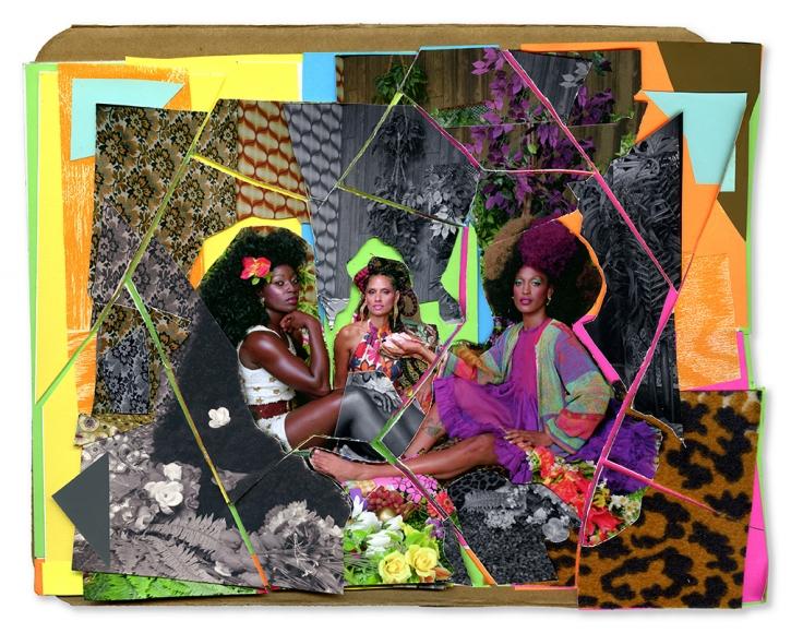 © Mickalene Thomas,  Le Dejeuner sur l'herbe les Trois Femmes Noir #5,  2017. Mixed media collage, 10 3/4 x 12 3/4 inches. Courtesy of the artist and Yancey Richardson.