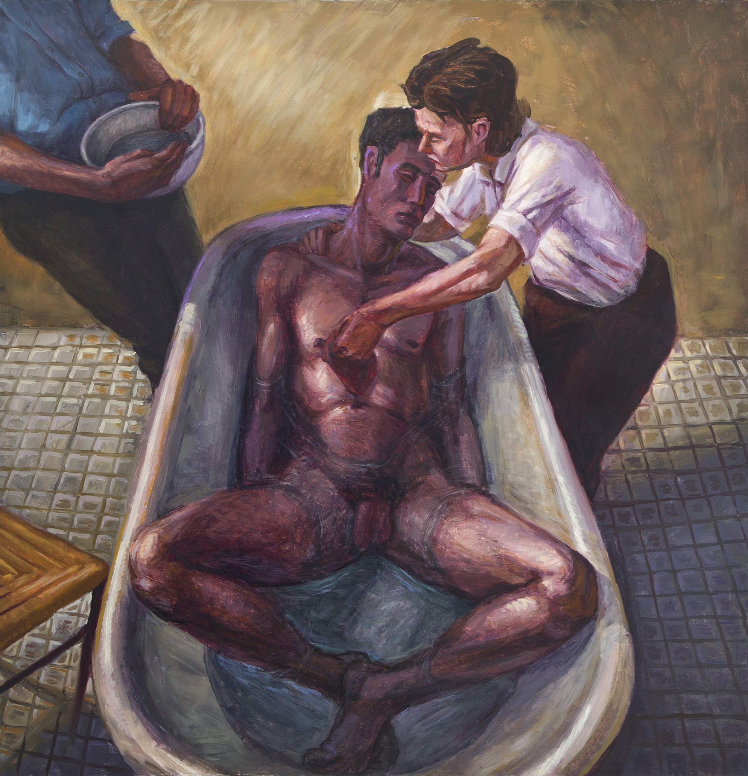 "Two Men and a Woman , 1992, Oil on Canvas, 60"" x 57"" (152.5 x 145 cm) © Hugh Steers, Courtesy of the Artist and Alexander Gray Associates, New York"