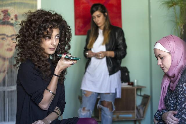 Film still. Mouna Hawa, Sana Jammalieh and Shaden Kanboura, courtesy of FILM MOVEMENT