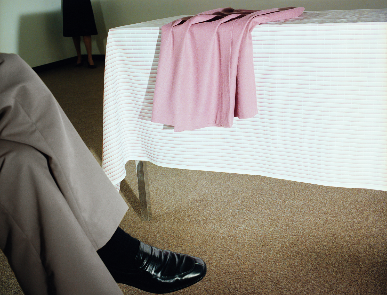 Now and Then © Jo Ann Callis   Man with Black Shoe , 1979, Archival Pigment Print, 24 x 30 inches