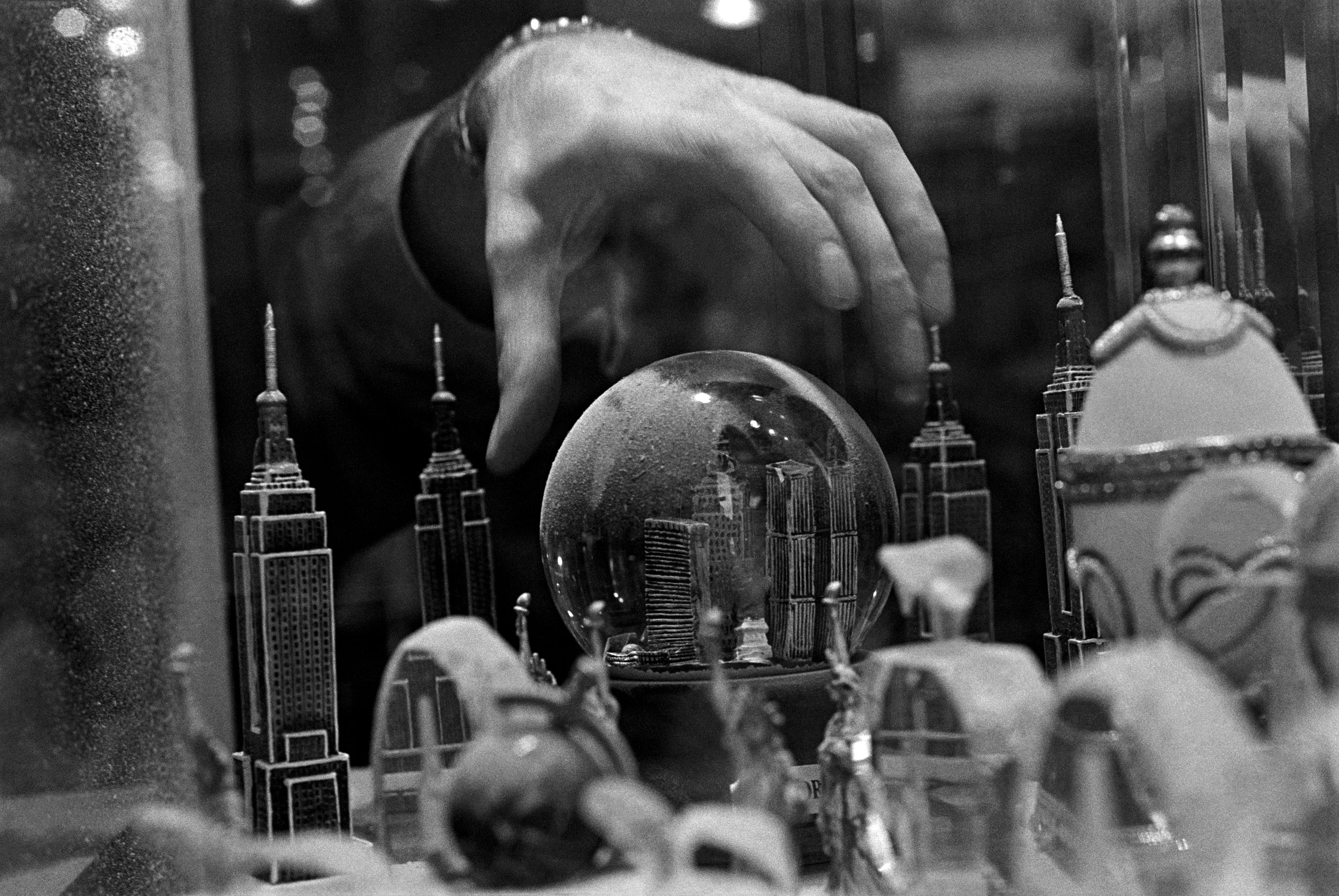 Snow globe of the city as it once was, New York,   2001. Gelatin silver print.  Collection of Eugene Richards. © Eugene Richards
