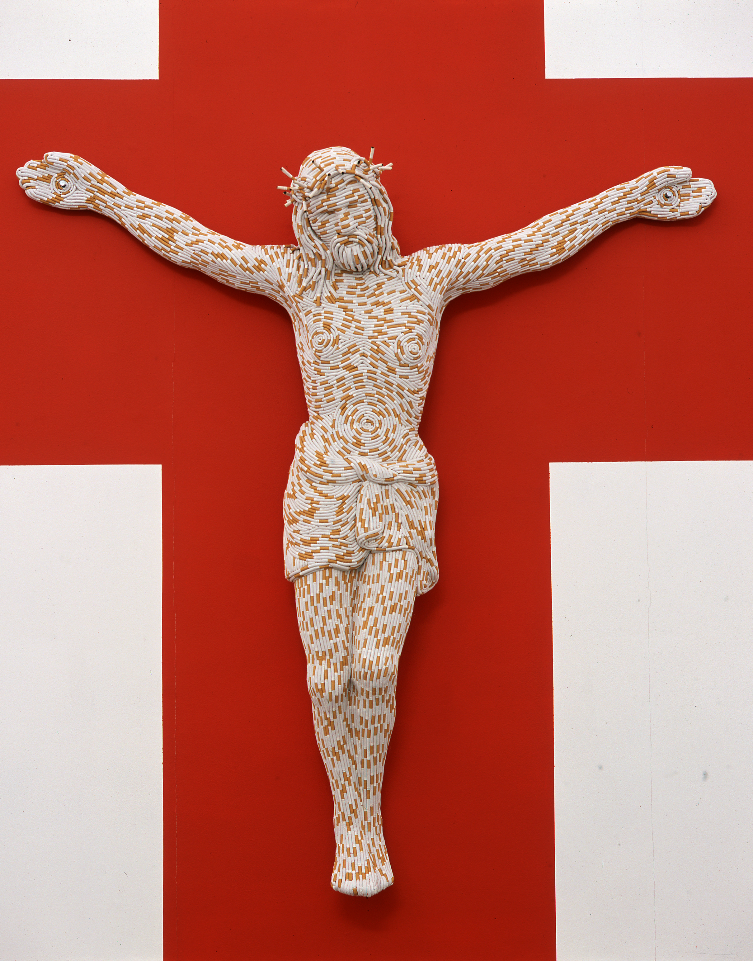 Christ You Know It Ain't Easy, 2003 Fiberglass and cigarettes 77 x 72 x 16 in (195.6 x 182.9 x 40.6 cm) Courtesy the artist and Sadie Coles HQ, London