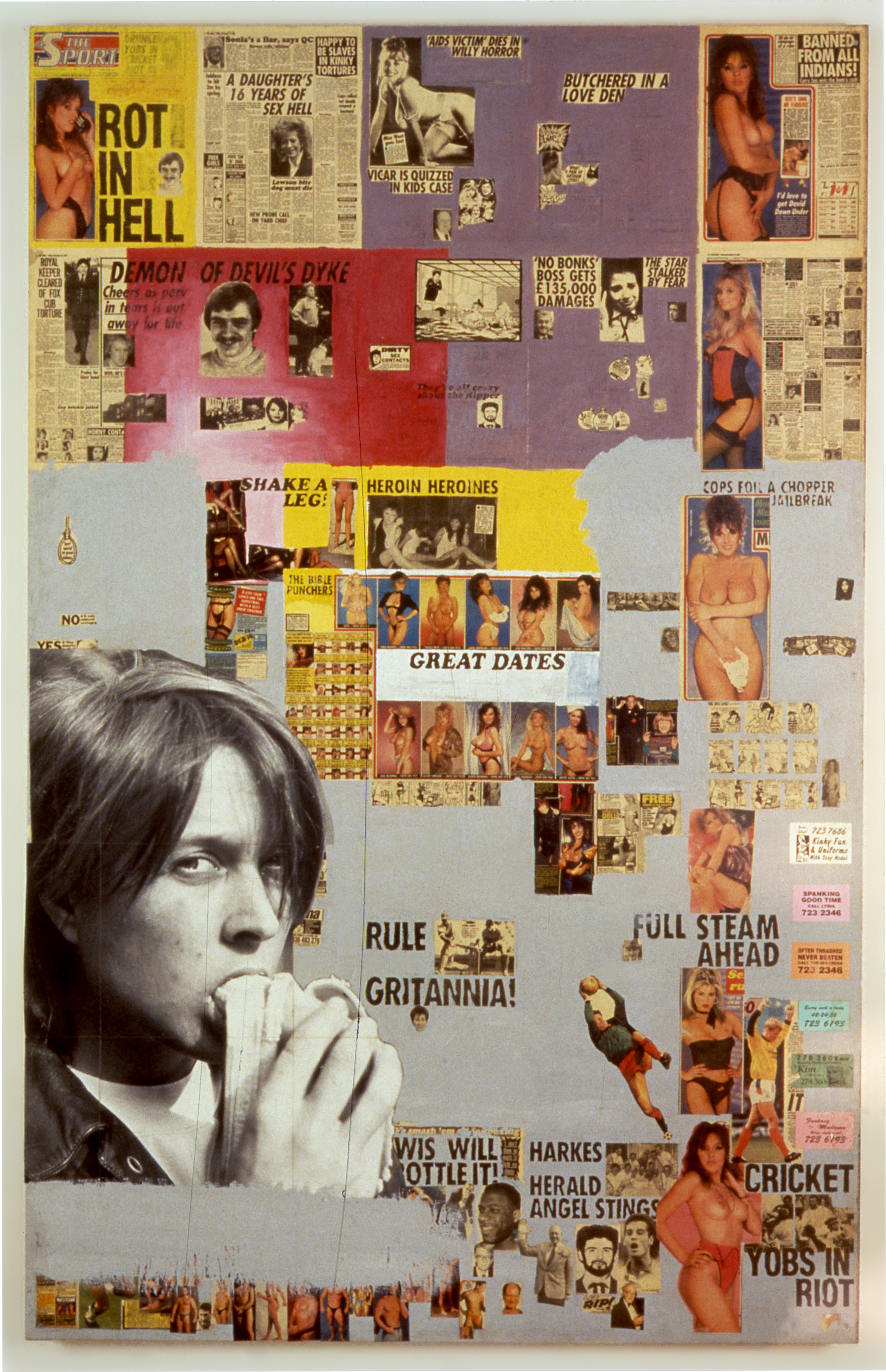 Great Dates, 1992 Collage and paint on board 88 x 56 1/2 in (223.5 x 143.5 cm) Private collection