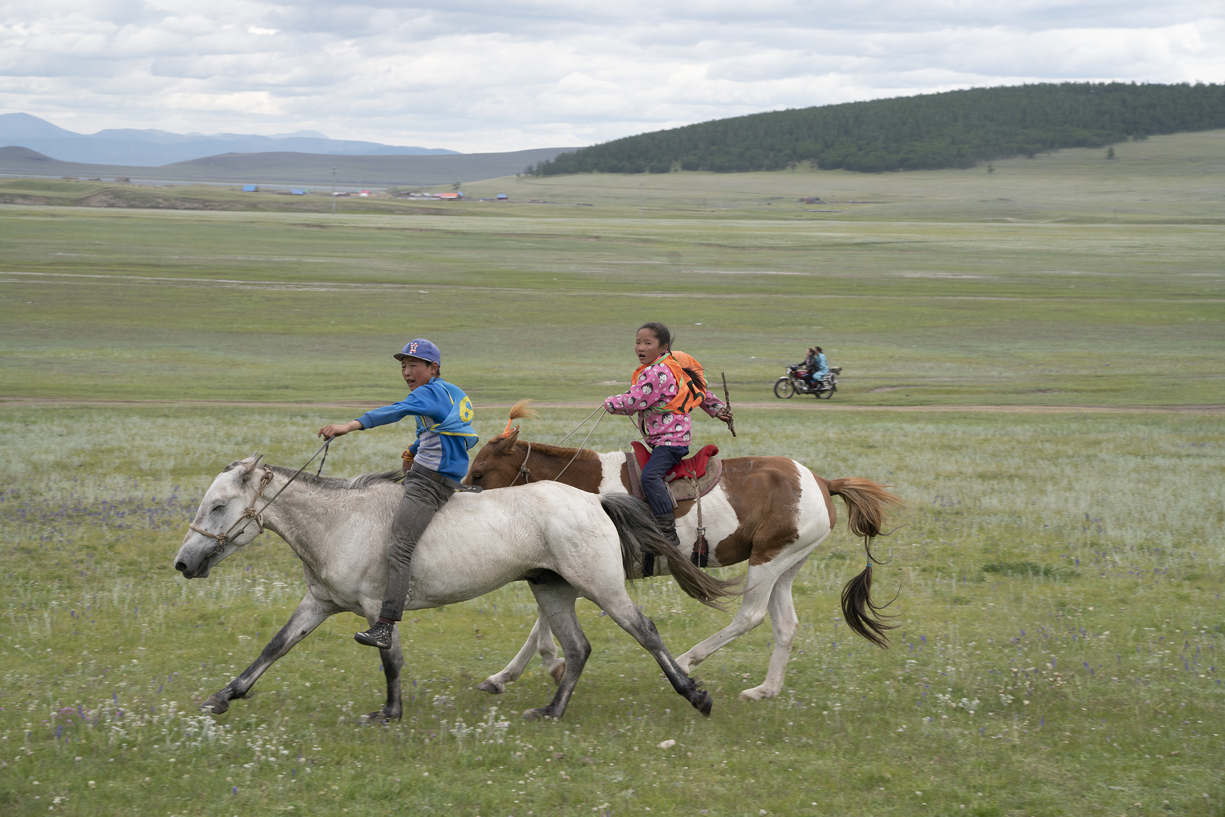 Young jockeys race in the competition for 3 year old horses at the Nadaam festival in Tsagaannuur. Nadaam is a huge deal in Mongolia. Villagers prepare all year for these races. © Meghan Boody