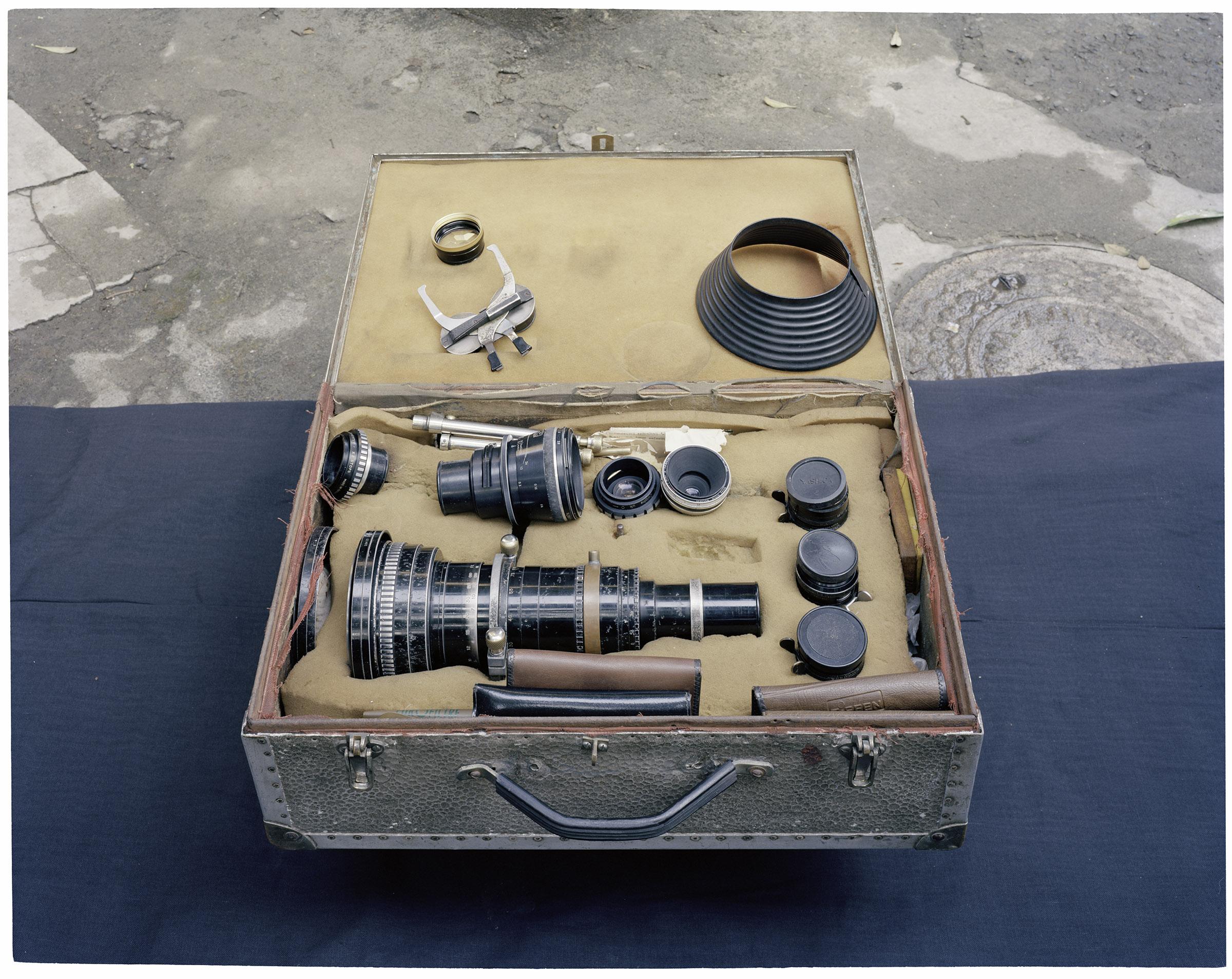 """APRI lens kit (Image India) -13""   From ""Film Studio Series"",     2013-2014. 28 x 36 inch Archival Pigment Print. Courtesy of Nandita Raman © sepiaEYE"