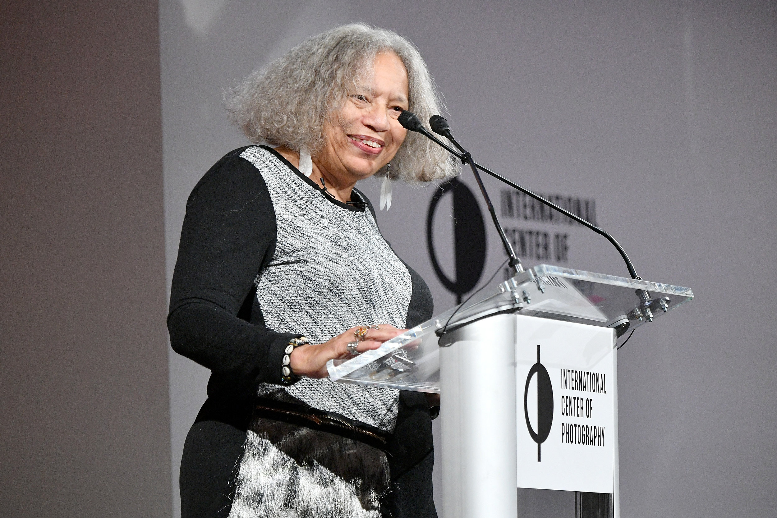 Beverly Guy-Sheftall speaks on stage at the ICP Spotlights Luncheon Honoring Mickalene Thomas ©Getty Images for ICP