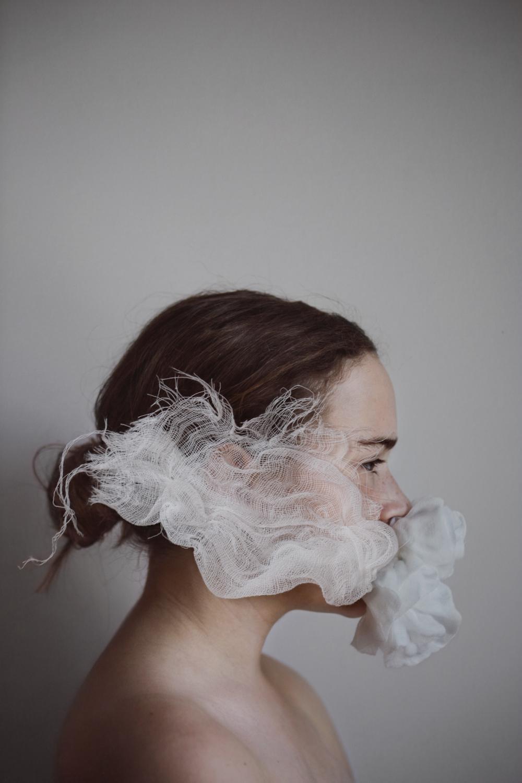 Fluff  . Pigment ink print, hand-stitched gauze. © Anne-Laure Autin
