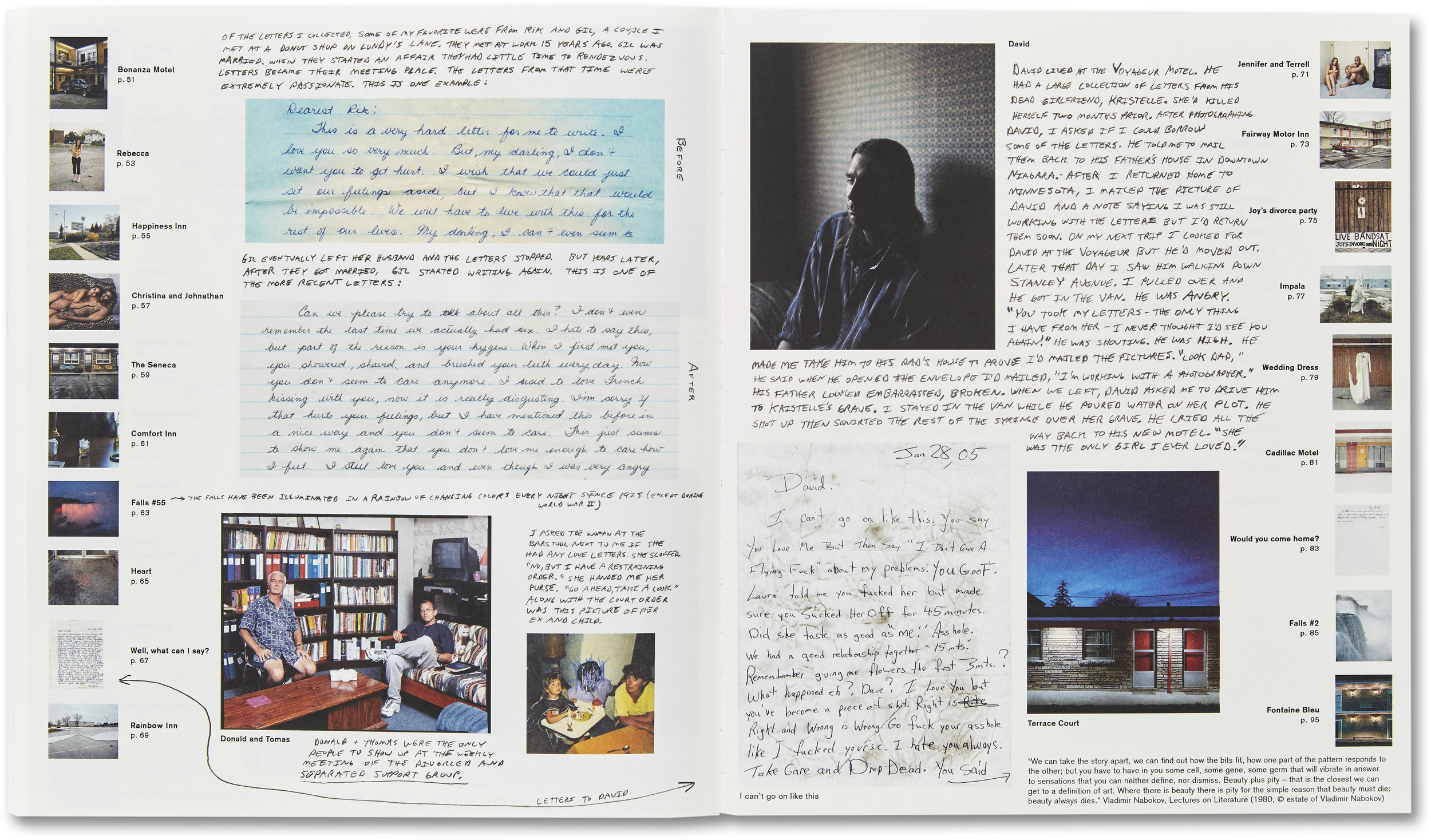 A page of notes at the back of Niagara. © Alec Soth. Courtesy of MACK.
