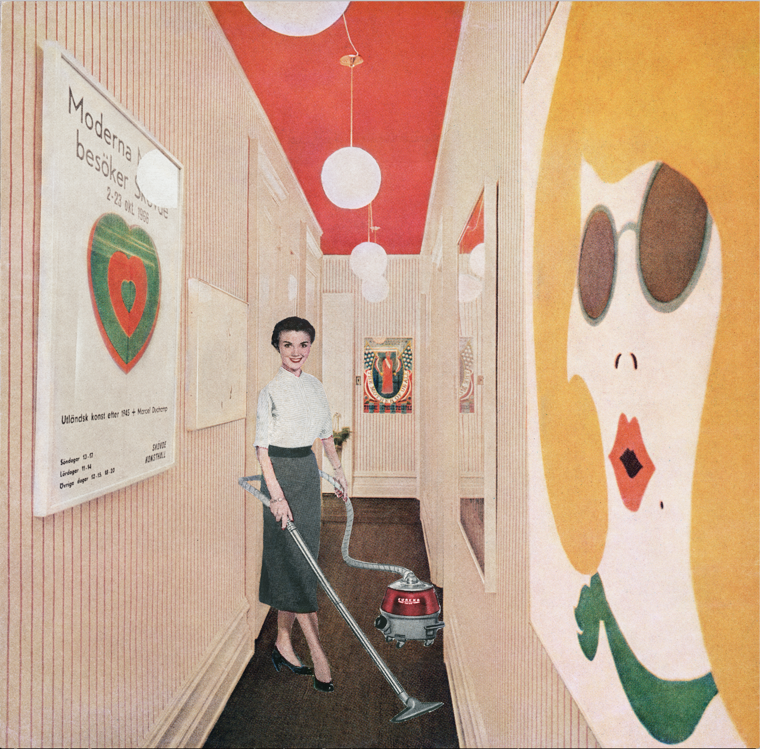 Martha Rosler, Vacuuming Pop Art, or Woman with Vacuum, from the series Body Beautiful, or Beauty Knows No Pain,  c. 1966–72, photomontage Artwork © Martha Rosler; image courtesy of the artist and Mitchell-Innes & Nash, New York