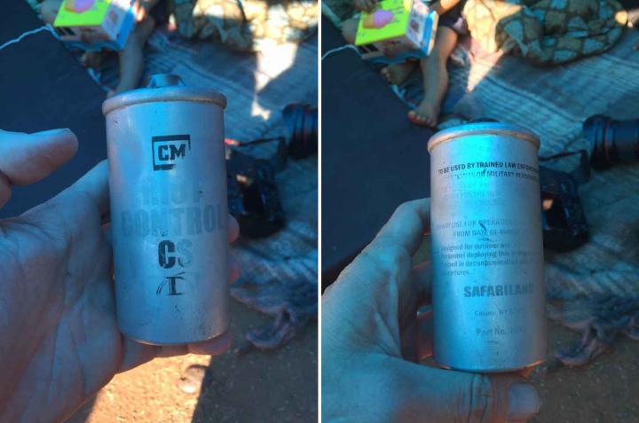 A teargas canister manufactured by Safariland, discovered at the San Ysidro Land Port of Entry by immigration journalist Patrick Timmons (© Patrick Timmons/@ patrickwtimmons )