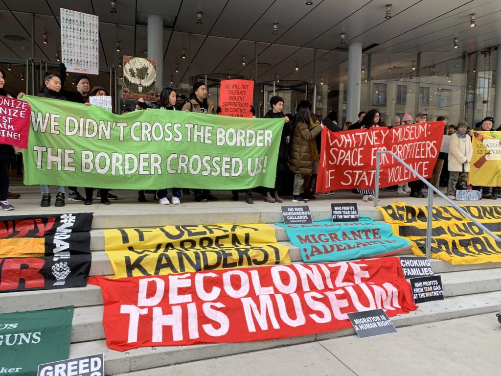 Decolonize This Place protests at the Whitney Museum of American Art. © @nycDSAantiwar.