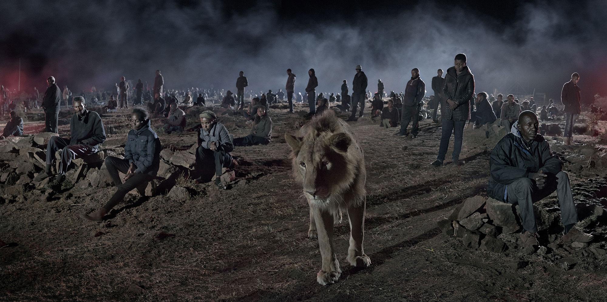 Savannah With Lion & Humans. Copyright Nick Brandt.