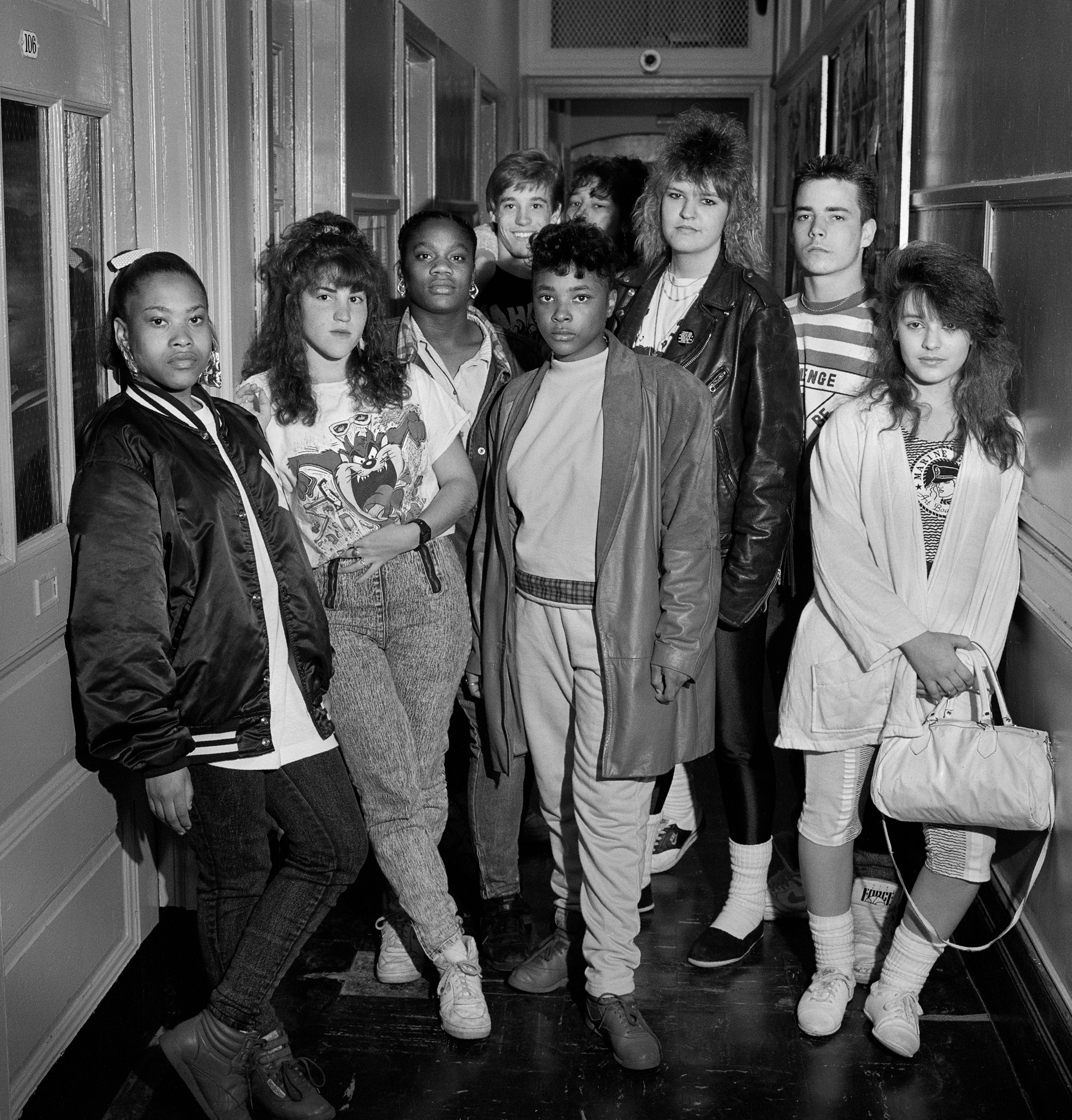Group in Hall, Concord High School, Staten Island, 1989, © Builder Levy