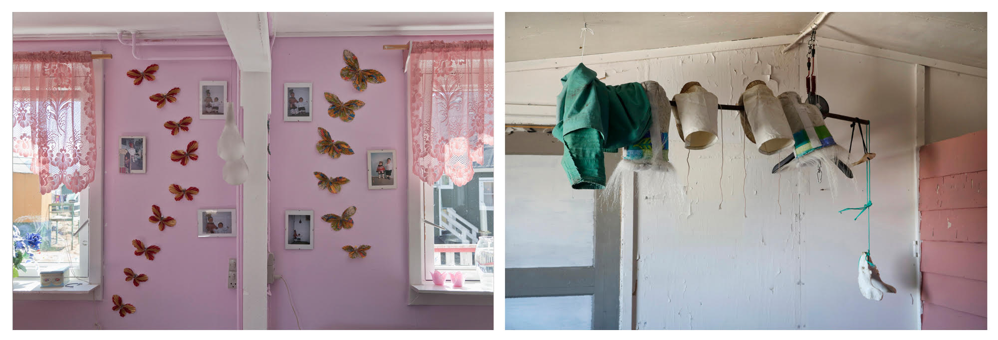 """Sila Window and Butterflies"", © Corina Gamma, Untitled, [Butterflies and hunting garments], Itilleq 2011, Qaanaaq, 2015"