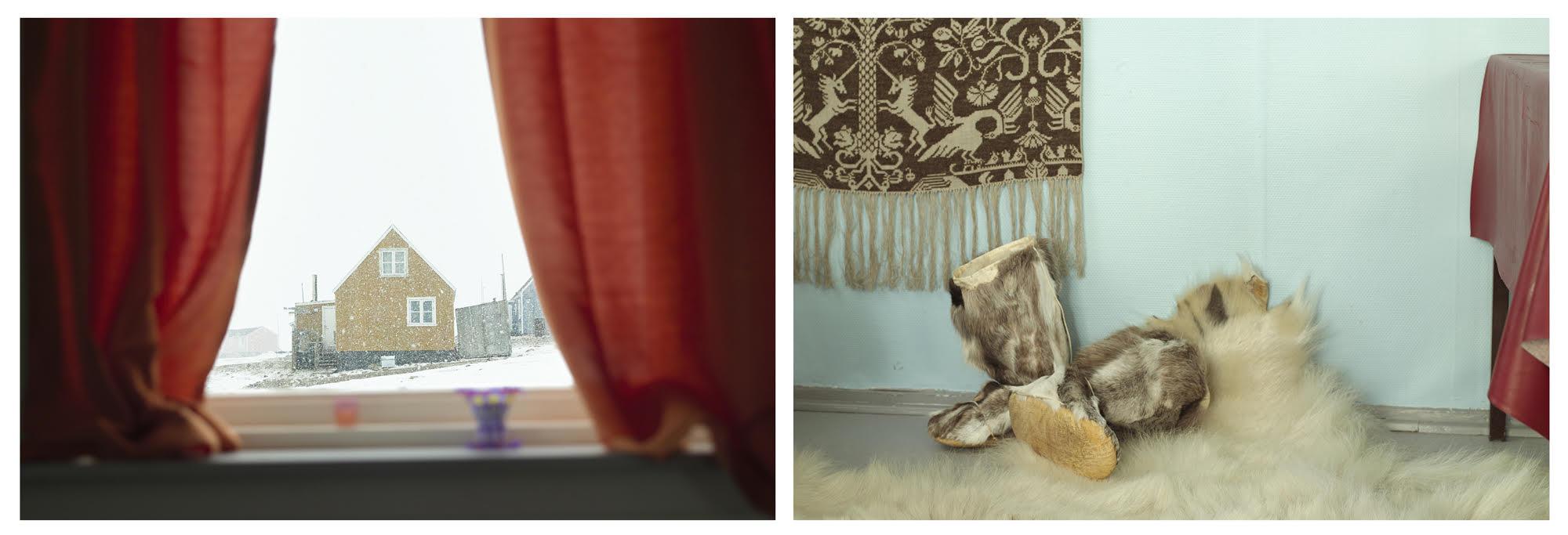 """""""Sila, Window and Polar Bear Rug"""", © Corina Gamma, Untitled, [Snow and reindeer kamiks], Qaanaaq, 2015"""