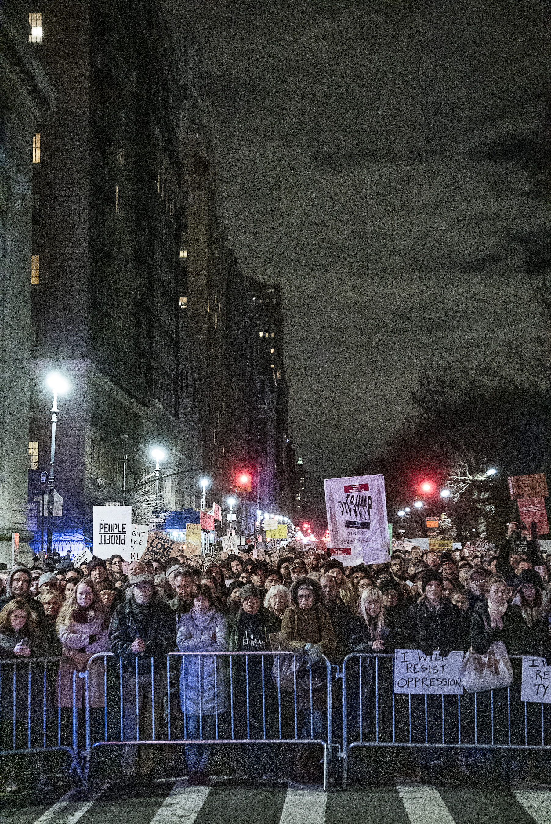 ©Ken Schles.  Inauguration Eve Anti-Trump Rally, December 17, 2017, NYC