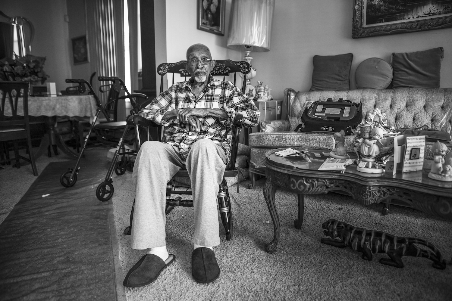 Thomas Kelly, 105. Former WWI and WWII veteran, U.S Army. Manager and lead singer for the Masters of Harmony Quartet. © Janice Milhem