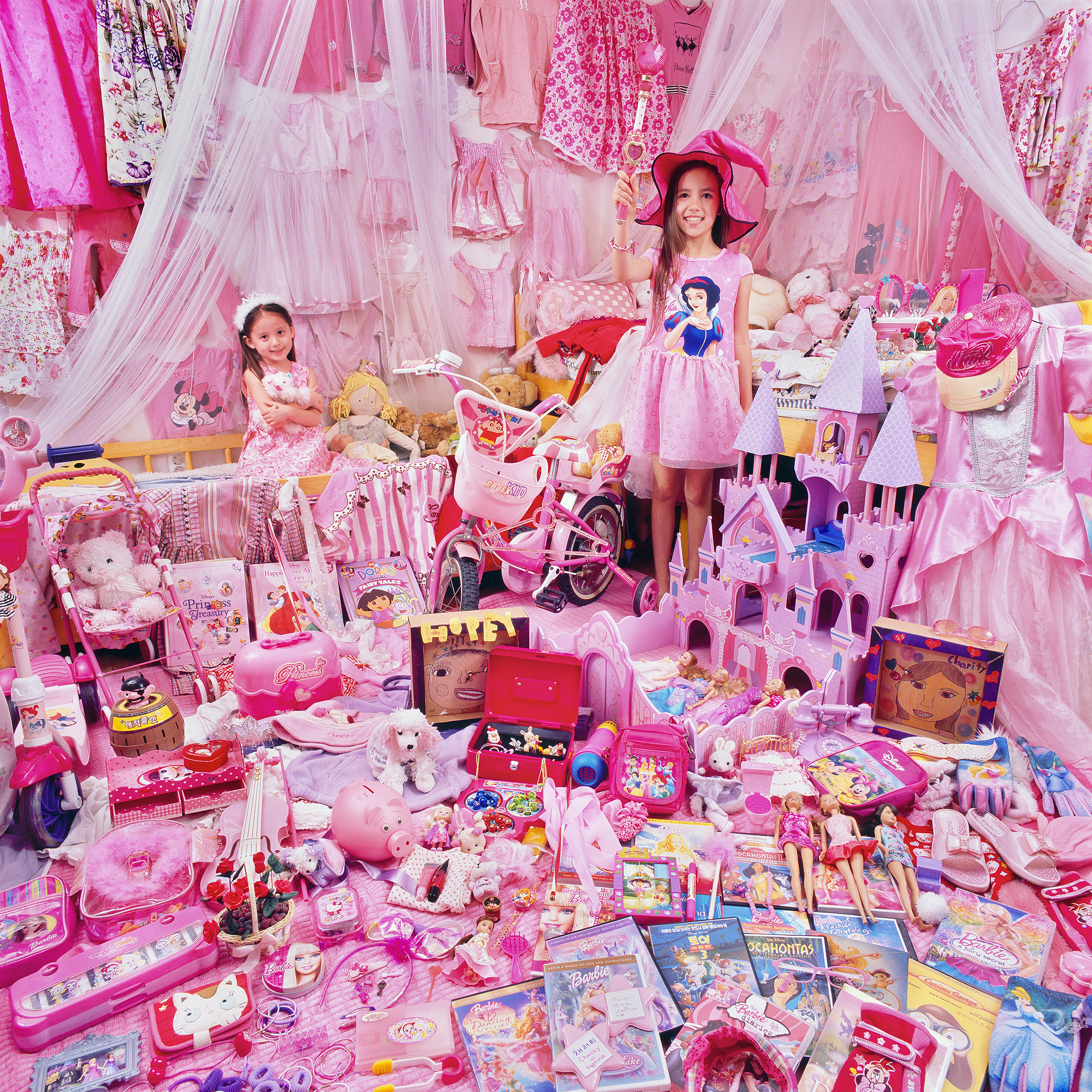 The Pink Project-Charity & Hopey and Their Pink Things, Gyeonggi-do, South Korea. Light jet print, 2011. ©JeongMee Yoon.